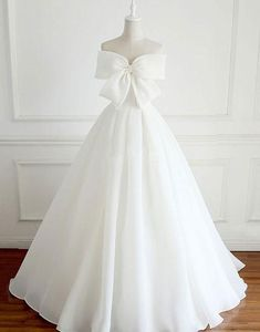 White Bow Evening Dress,Long White Prom Dress,Strapless Sweetheart Evening Dress,122709 by Dress Storm, $179.00 USD