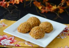 AIP Pumpkin Bites *reduce amount of maple syrup and coat in toasted shredded coconut* Pumpkin Recipes, Paleo Recipes, Whole Food Recipes, Free Recipes, Cookie Recipes, Paleo Sweets, Paleo Dessert, Paleo Food, Healthy Desserts