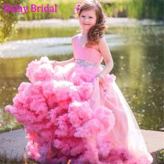 Cloud Dress Long Pink Beauty Pageant Dresses For Kids