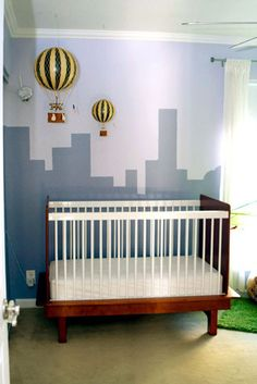 Nursery nook - city skyline and hot air balloons Baby Boy Rooms, Baby Boy Nurseries, Baby Cribs, Baby Boys, Nursery Neutral, Neutral Nurseries, Hot Air Balloon, Balloon Wall, Baby Center