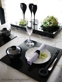 Black Tablescape. So elegant.