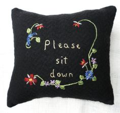 Pillow Folk art hand embroidered wool by bannerandsail on Etsy, $17.00
