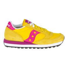 Saucony Women's Jazz Original Trainers - Yellow/Berry featuring polyvore, women's fashion, shoes, sneakers, yellow, yellow shoes, flat sneakers, yellow flat shoes, lace up flat shoes and low profile sneakers