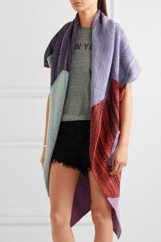 The Elder Statesman - Zig Zag Patchwork Cashmere Cardigan - Purple - One size