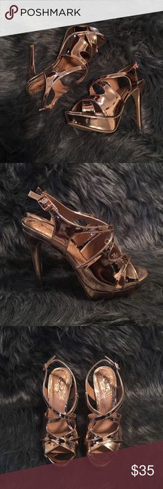 Avalon Rose Gold Heels These Stilettos are absolutely beautiful. It has a cross design in a rose gold color. A small buckle to strap. Qupid Shoes Heels