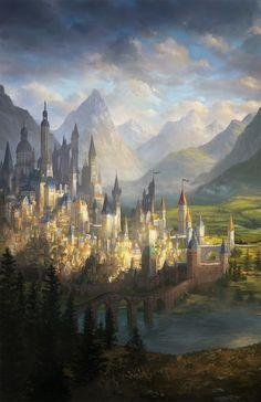 ArtStation - Edge of Darkness: Game Board Illustration, Alayna Lemmer-Danner Fantasy City, Fantasy Castle, Fantasy Places, High Fantasy, Medieval Fantasy, Fantasy World, Fantasy Rpg, Fantasy Art Landscapes, Fantasy Paintings