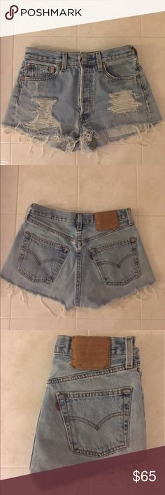 "Vintage Distressed Light wash Levis 501 Vintage Distressed Levi's 501: Waist 25"" Hips 35"" Levi's Shorts Jean Shorts"