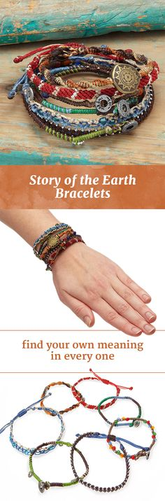 Featuring unique charms, beads, and knot work, this set of seven bracelets sprung from natural inspiration.