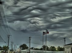Undulatus Asperatus Clouds  These clouds are called undulatus asperatus, or rough waves. This type of cloud, with a rather mysterious form, was recently included in the classification by the head of the Cloud Appreciation Society.