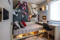 Star Wars Room Design Ideas - Check out the best Star Wars rooms for We collected the most inspiring and creative room decorations for Star Wars fans. Home Bedroom, Kids Bedroom, Bedroom Decor, Wall Decor, Bedroom Loft, Wall Art, Bedroom Wall, Bedroom Furniture, Room Interior