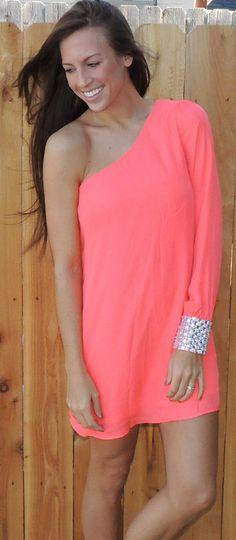 One Shoulder Dress in Coral #ShopMCE