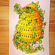 Doodle Invasion  Inktense + Mondeluz #doodle #doodleinvasion #rosanes #kerbyrosanes #inwazjabazgrołów #coloringforadults #kolorowaniedladorosłych