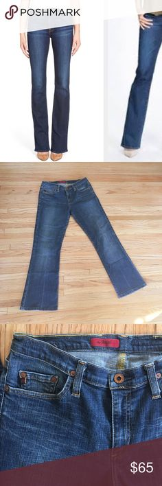 """AG the Angel bootcut jeans Size 29R. No condition issues, gently worn. Style HMY1013; PO#AG-4203. Cotton/Lycra. 5 pocket. Inseam is 28"""". Leg opening is 8.5"""". AG Adriano Goldschmied Jeans Boot Cut"""