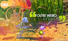 """A Bug's Life: /:D Dot <3 Flik! He was her little Crush! Haha! I remember BEGGIN my dad to buy the Bath set from Avon for """"A Bug's Life""""! It came with a purple Mesh Poof Sponge with a plastic Berry with """"Dot"""" sittin on top! & all the bubble bath sets & gel soaps had pictures of the other Characters on 'em! I LOVED that MESS! Haha! /:D"""