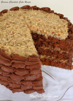 Scratch German Chocolate Cake Recipe by MyCakeSchool.com. YUM!