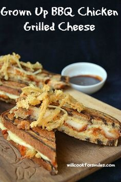 Grown Up BBQ Chicken Grilled Cheese -- made for hubby.....HUGE hit!  (one of the few times he wants to be a grown-up. lol)  I did not follow the recipe, just the idea.  We used sourdough bread, I cooked chicken breast and cut up instead of prepackaged chicken, white cheddar and cheddar about the same....your preference, and finally I used a honey BBQ sauce (per hubs request).  Sandwich was a hit.....put on the rotation!