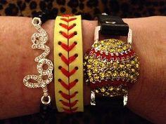 Softball Stack Bracelet Set of Three – Cocomo Soul Softball Bracelet, Softball Jewelry, Softball Gifts, Softball Quotes, Softball Players, Girls Softball, Fastpitch Softball, Baseball Mom, Softball Stuff