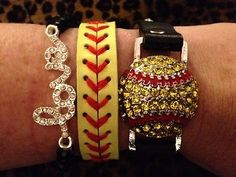 Rhinestone Softball LOVE stack bracelet SET Softball MOM