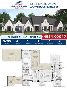 Plan 4534-00049 outlines a European home design with 3,690 sq. ft., 4 bedrooms, 3.5 bathrooms, a porte cochere, a kitchen island, an open floor plan, and a media room. #european #architecture #houseplans #housedesign #homedesign #homedesigns #architecturalplans #newconstruction #floorplans #dreamhome #dreamhouseplans #abhouseplans #besthouseplans #newhome #newhouse #homesweethome #buildingahome #buildahome #residentialplans #residentialhome