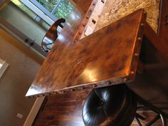 Copper edge detail kitchens pinterest copper tasting room and bar find this pin and more on tables copper bar watchthetrailerfo