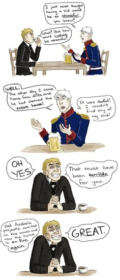 Gilbert and Arthur compare notes on raising little kids - Art by thesouschef.tumblr.com