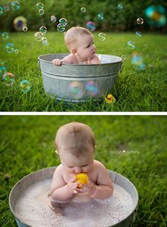 bubble bath photography session 6 month old baby girl Friendswood,Tx Sarah Victoria Photography