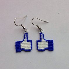 """Facebook """"Like"""" button earrings    Made with Miyuki delicas in square stitch"""