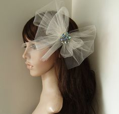 Ivory Wedding Veil Bridal Hair Clip VINTAGE BLUE CRYSTAL birdcage pouf $64