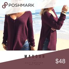 "Maroon Top Soft cotton blend fabric with fuzzy soft texture.  maroon color. Sizing: large bust 38"", sleeve 18"", length 27"". A must have this season! Get cozy in this stylish sweater. Detailed with a crew neckline, long sleeves and small side slits, and hi-lo hemline. Has a boxy, relaxed silhouette. We love it styled with skinny jeans and thigh high boots! Sweaters"