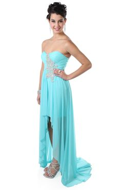 Deb Shops strapless stone applique high low #prom #dress