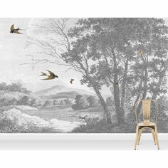 ZEPHYR - Designer Wall Mural by Woodchip & Magnolia. Greyscale English countryside scene with swallows. Paste the Wall Wallpaper. Tree Wallpaper, Fabric Wallpaper, Wallpaper Roll, Wallpaper Ideas, Wallpaper Murals, Bathroom Wallpaper, Scenic Wallpaper, Wallpaper Ceiling, Countryside Wallpaper