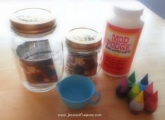 items needed to tint jars bake in a 170 degree oven for about 20 minutes Mason Jar Christmas Gifts, Mason Jar Gifts, Christmas Decor, Mason Jar Projects, Crafty Projects, Fun Projects, Jar Crafts, Diy And Crafts, Firefly Mason Jars