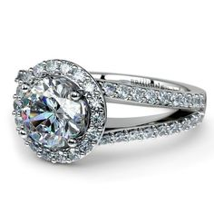 Halo Split Shank Diamond Engagement Ring in White Gold | Image 04