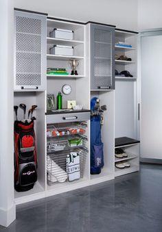 Sports Storage Garage and Shed Design Ideas, Pictures, Remodel and Decor Diy Garage Storage, Garage Organization, Locker Storage, Storage Ideas, Organization Ideas, Organized Garage, Garage Shelving, Organizing, Garage Lockers