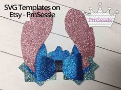 Etsy :: Your place to buy and sell all things handmade Glitter Canvas, Glitter Fabric, Pink Fabric, Bow Template, Templates, Lilo Y Stitch, Disney Bows, Bow Design, Hairbows
