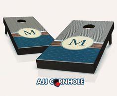 """Paisley Stroll Monogram"" Cornhole Set Product Details | AJJ Cornhole"