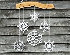 Holiday decor - crochet snowflake and wood ornament for cozy home.  Great way to display your snowflakes!