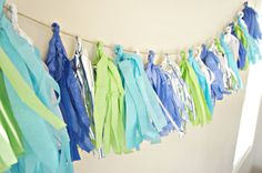 Teal Tissue Tassel Garland for a Little Man Baby Shower Decor Idea Ocean Party Decorations, Baby Shower Decorations, Baby Girl Birthday, 1st Birthday Parties, Mermaid Birthday, Birthday Ideas, Man Shower, Baby Boy Shower, Baby Showers