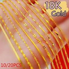 Buy Jewelry Sample Order Mix 20 Styles Genuine Gold Link Necklace Set Chains+Lobster Clasps Tag at Wish - Shopping Made Fun Gold Chain Design, Gold Bangles Design, Gold Earrings Designs, Gold Jewelry Simple, Gold Jewellery, Gold Fashion, Bridal Fashion, Fashion Jewelry, Women's Fashion