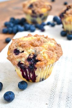 Blueberry Muffins with Cinnamon Streusel Topping...  Easy to make and perfectly moist and delish!