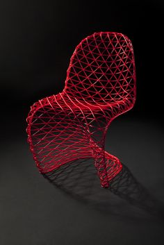 Curvy chair made out of small triangles or angular shapes