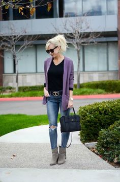 Purple Cardigan, Black Tee, Distressed Jeans. Spring Transition Outfit   On the Daily EXPRESS