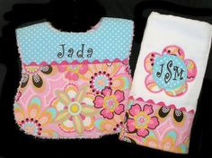 Personalized Baby Bib and Burp Cloth Gift Set by SeamsSewSweet