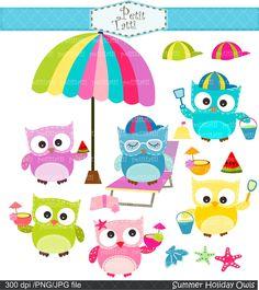 summer holiday owl clip art