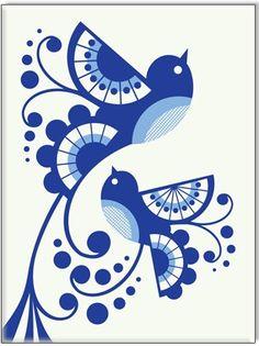 Folk Gzhel painting from Russia. A floral pattern. Art And Illustration, Scandinavian Folk Art, Fabric Painting, Painting Stencils, Painting Art, Bird Art, Blue Bird, Art Drawings, Artsy