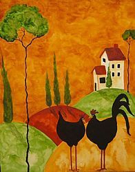 Art: CHICKEN DATE by Artist Debi Hubbs