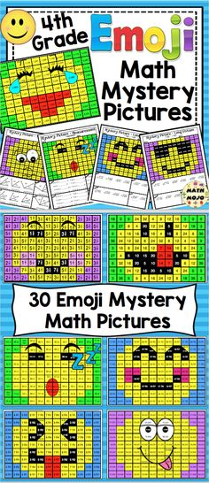 Math Emoji Mystery Pictures (4th Grade)- Make math class something to look forward to with this set of 4th grade math emoji mystery pictures. These math mystery pictures will help keep your students engaged and motivated. They are self-checking, cover key 4th grade math skills, and the pictures and problems are all on 1 page. $