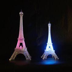 Lovely Eiffel Tower Romantic Night Light LED Lamp Desk Table Home Bedroom Decor Big Wall Stickers, Flower Wall Stickers, Eiffel Tower Lights, Paris Eiffel Tower, Romantic Paris, Romantic Night, Paris Bedroom, Bedroom Decor, Bedroom Ideas