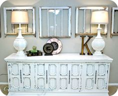 Is there any piece of furniture more versatile than the console table? Here are 25 ways to decorate a console table in your home. Paint Furniture, Furniture Makeover, Office Furniture, Modern Furniture, White Buffet, Old Windows, Vintage Windows, Repurposed Furniture, Distressed Furniture