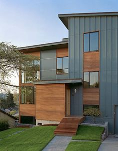 Wonderful Board Batten Wood Siding Home Designs : Zipper House Modern Exterior Hardy Board Type Siding With Exact Color Of Cedar Siding And Wood Installation Style Exterior House Colors, Exterior Paint, Exterior Design, Stucco Exterior, Cafe Exterior, Exterior Signage, Stucco Homes, Exterior Lighting, Fiber Cement Siding